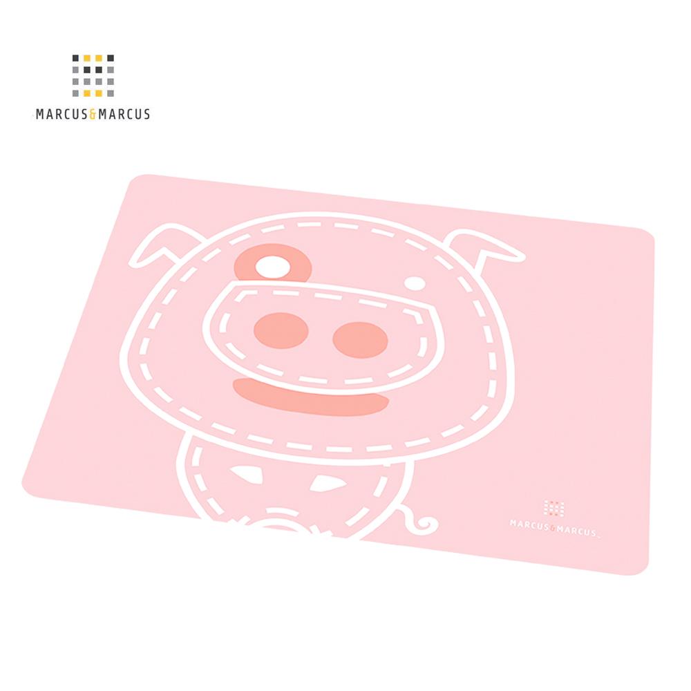 加拿大 MARCUS&MARCUS 動物樂園矽膠餐墊(粉紅豬)