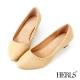 HERLS-復古 內真皮 十字編織紋 高根鞋
