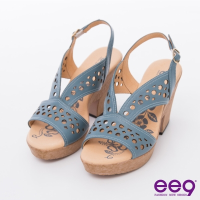 ee9矚目焦點-多層次鐳射鏤空粗跟涼鞋-藍色