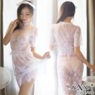 情趣睡衣 情戀深深透視全蕾絲三件式睡衣組 純潔白 XOXOXO