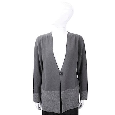 FABIANA FILIPPI 小方釦拼色針織深灰色美麗諾羊毛罩衫