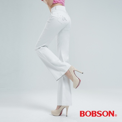 BOBSON 高腰頭鑽飾伸縮喇叭褲 (白色)