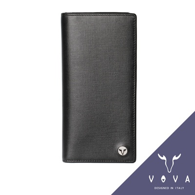 VOVA-凱旋系列14卡IV紋薄型長夾-黑色