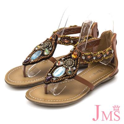 JMS-波希米亞風手作串珠平底羅馬夾腳涼鞋-棕色