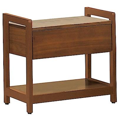 品家居 潘布1.6尺胡桃木紋實木單抽床頭櫃-49x40x50cm-免組