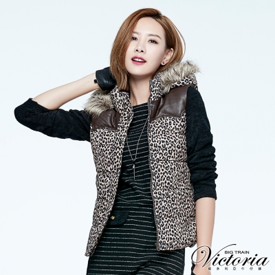 Victoria 豹紋配PU皮絲棉背心-女-咖啡