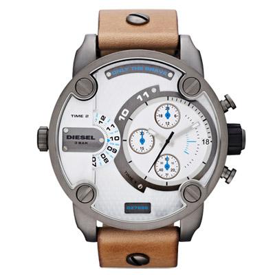 DIESEL 飛行者二地時間個性時尚腕錶-鋼鐵白/51mm