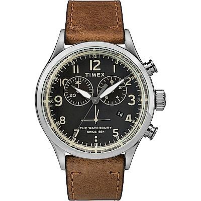 TIMEX 天美時 Waterbury系列 雙眼計時手錶 黑x棕色/42mm