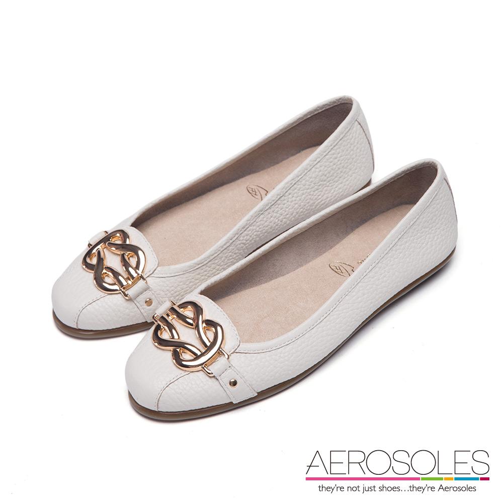 AEROSOLES 流線金屬弧形雙釦環真皮娃娃鞋~優雅白色