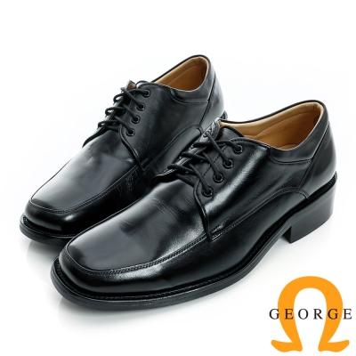 GEORGE-經典素面綁帶真皮方頭皮鞋-黑色