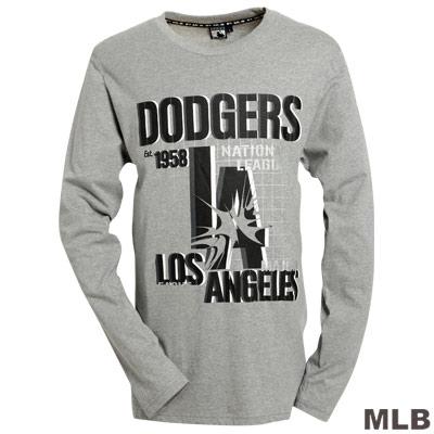 MLB-洛杉磯道奇隊3D字母棉質T恤-灰(男)