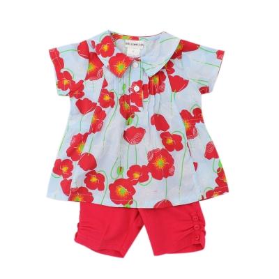 愛的世界 彈性罌粟花短袖套裝/6個月~1歲