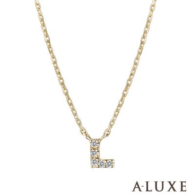 A-LUXE 亞立詩 Alphabet系列10K鑽石項鍊-L