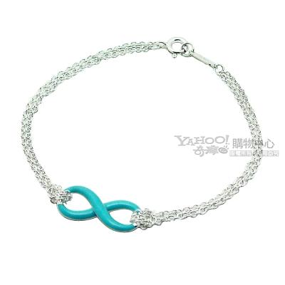 Tiffany&Co. 粉藍琺瑯 無限的愛 純銀雙鍊手鍊