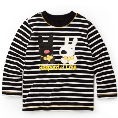 GL法國 優質萌系童趣黑白條紋長袖上衣
