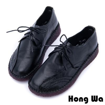 Hong Wa 率性首選特選牛皮綁帶鞋 - 黑