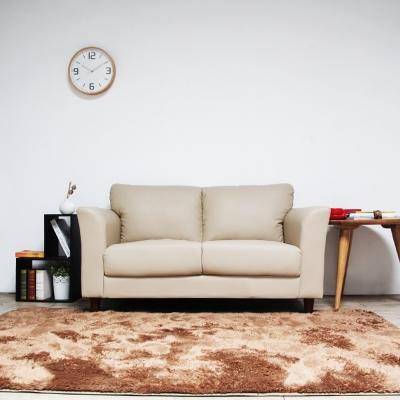 H&D Houston休士頓純樸雙人皮沙發-米白色