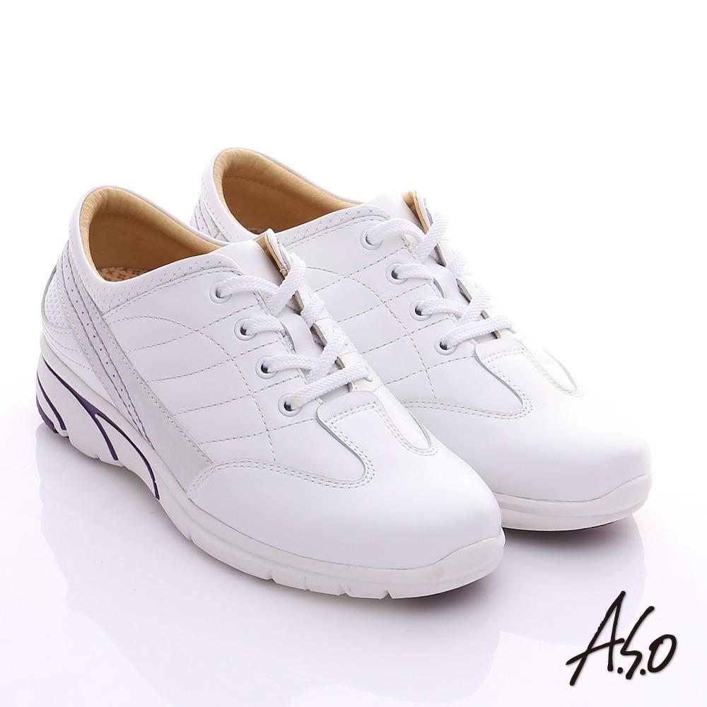 A.S.O 紓壓耐走 全真皮綁帶奈米休閒鞋 白