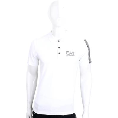 EMPORIO ARMANI 白色EA7標誌棉質短袖POLO衫