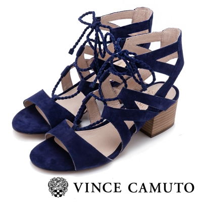 VINCE CAMUTO 浪漫甜美 曲線綁帶粗跟涼鞋-絨藍