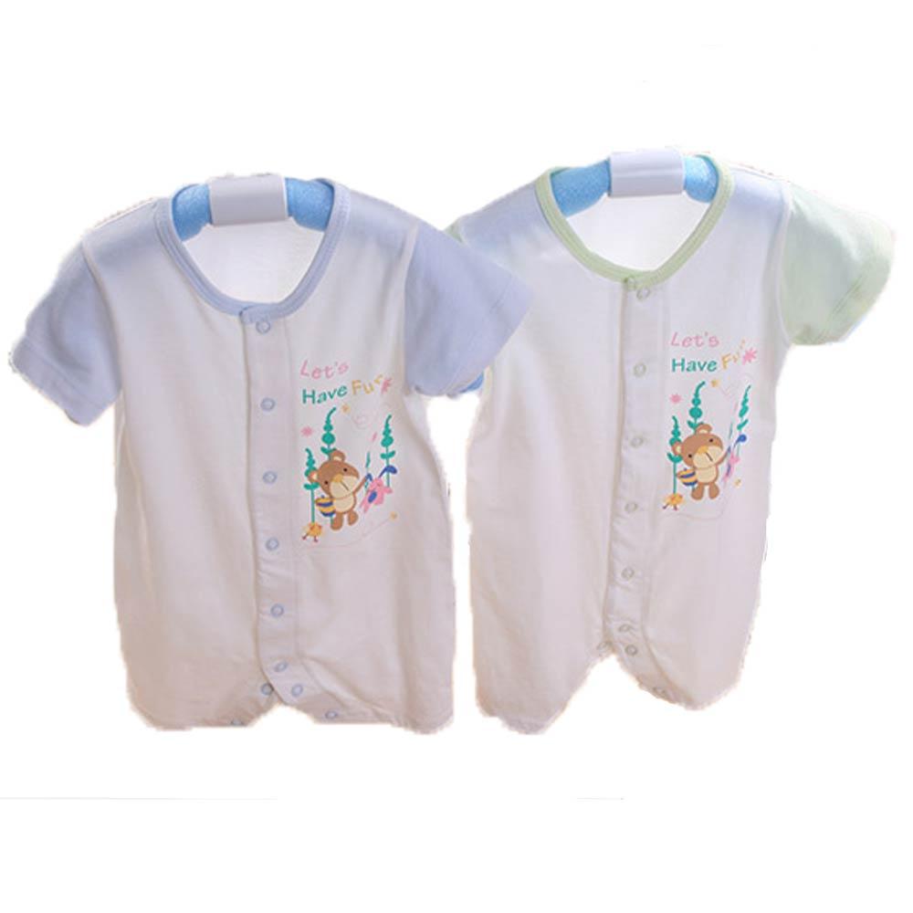 魔法Baby台灣製純棉嬰兒短袖連身衣 k41651