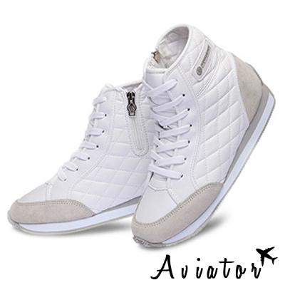 Aviator*韓國空運-PAPERPLANES正韓製菱格紋高筒增高鞋-白