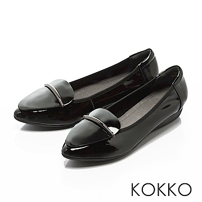 KOKKO - 城市綺想輕奢尖頭平底休閒鞋-紳士黑