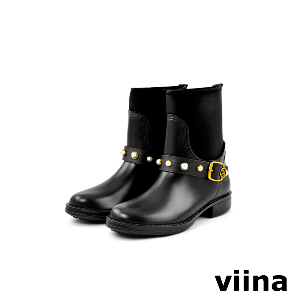 viina 俏皮珍珠短筒雨靴-黑