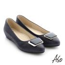 A.S.O 減壓美型 真皮金屬飾釦拼接窩心平底鞋 深藍色