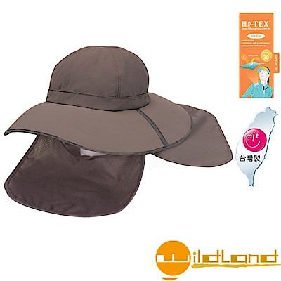 【荒野 WildLand】中性抗UV折疊式護頸遮陽帽.休閒帽_深灰