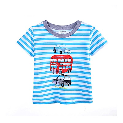 歐美春夏純棉兒童短T-條紋交通工具