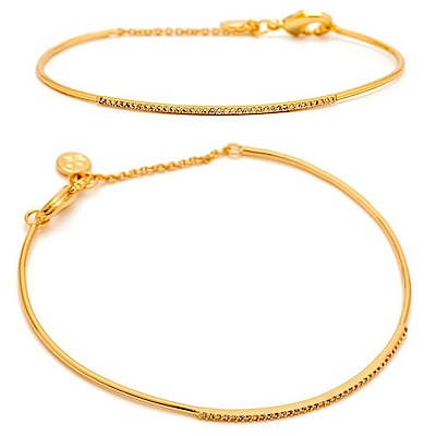 GORJANA 平衡骨 細緻白鑽 金色細版手環 Shimmer Bar Bracelet