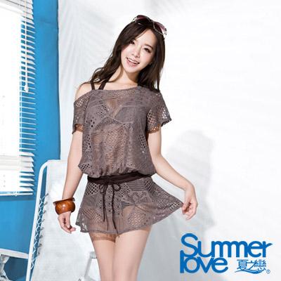 夏之戀SUMMERLOVE 比基尼泳裝 外搭連身裙 淺咖啡