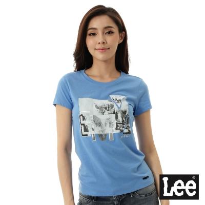 Lee 雷射印花短袖T恤-女-藍
