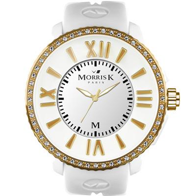 MORRIS K「獨一無二」晶鑽限量錶款-白+金框/40mm