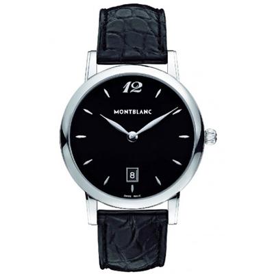 MONTBLANC萬寶龍 STAR系列108769 黑面日期皮帶腕錶 石英-39mm