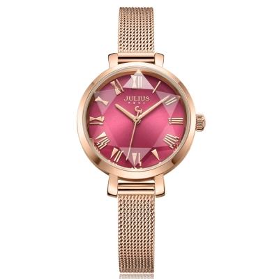 JULIUS聚利時 米蘭風尚立體切割鏡面腕錶-寶石紅x玫瑰金/26mm