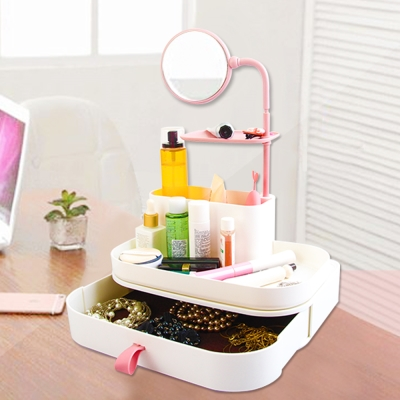 Conalife 化妝品含鏡整理收納盒+抽屜(1組)