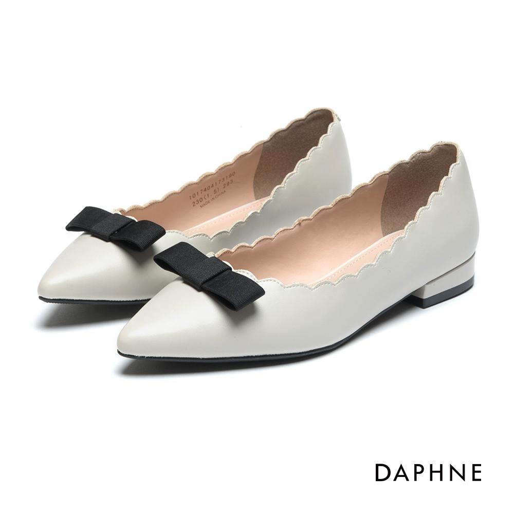 達芙妮DAPHNE 平底鞋-緞帶花邊尖頭低跟鞋-米白