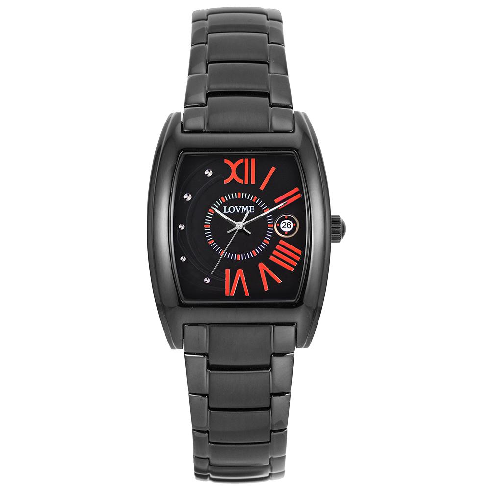 LOVME 月影星辰時尚腕錶-IP黑x亮麗橘刻度/26mm
