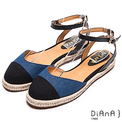 DIANA 新穎風尚--雙色時尚水鑽麻編涼鞋-黑X藍