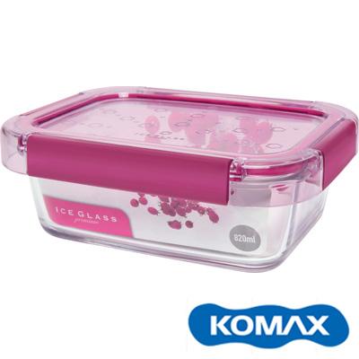 KOMAX-冰鑽長形強化玻璃保鮮盒-粉-820ml