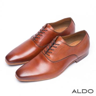 ALDO-精典原色真皮綁帶式牛津尖頭鞋-都會棕色