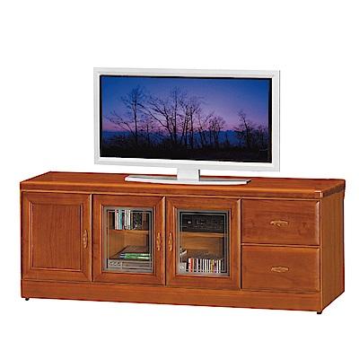 品家居 查雅5.3尺樟木紋三門二抽長櫃/電視櫃-160x45x60.5cm免組