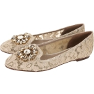 DOLCE & GABBANA 花朵鑽飾蕾絲樂福鞋(卡其色)