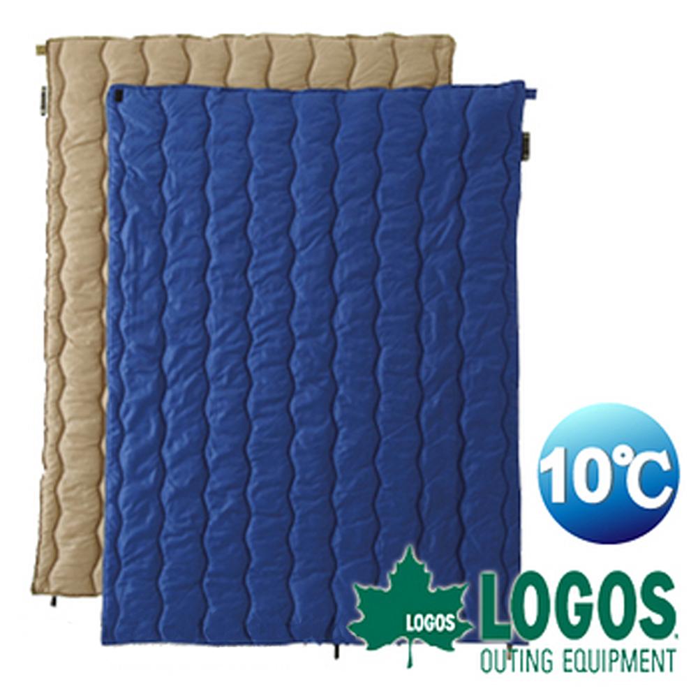 【日本 LOGOS】10℃ 2合1丸洗化纖睡袋組/中空纖維填充.露營.野餐.旅遊_藍