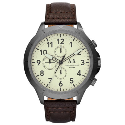 A│X Armani Exchange 時刻終戰三眼計時腕錶-白X深咖啡皮帶/50mm