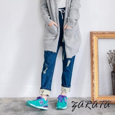鬆緊綁帶反折褲管刷破牛仔褲-藍色-ZARATA