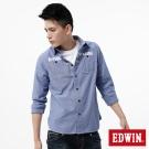 EDWIN 襯衫 標語牛津襯衫-男-藍色
