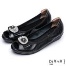 DIANA甜美混搭--立體小花鑽釦蝴蝶結真皮楔型魚口鞋 -黑